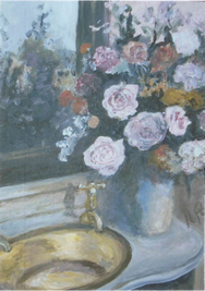 Poat Painting of Basin with Flowers