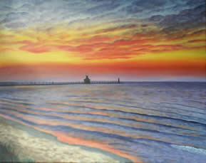 South Haven Sunset Painting by Marilyn Meredith